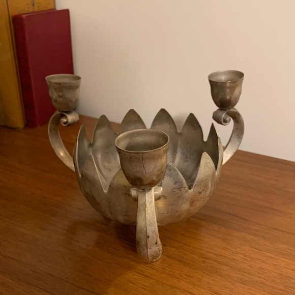 Vintage Silver Plate Lotus Flower Candeholder